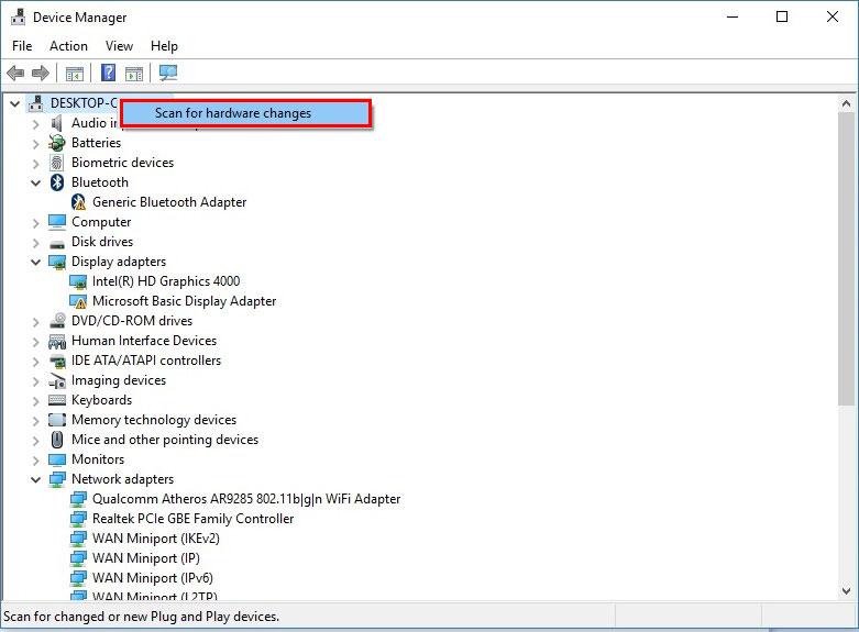 آموزش نصب درایور در ویندوز 10 - scan for hardware changes