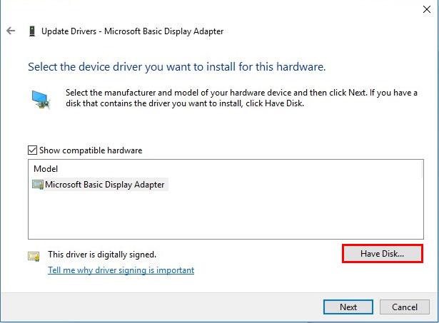 آموزش نصب درایور در ویندوز 10 - Select Device Drive you want to install for this hardware