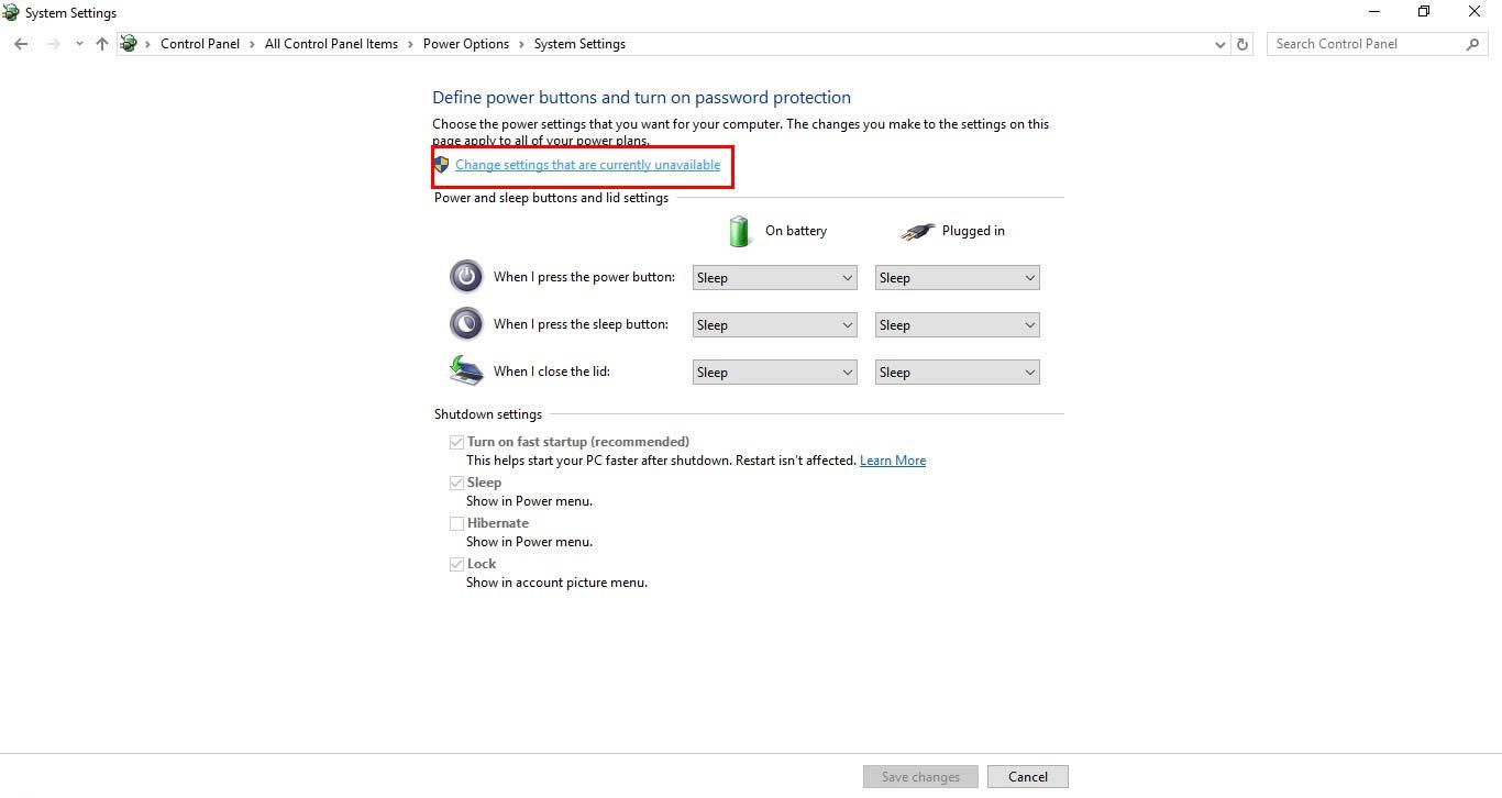 فعال کردن Hibernate در ویندوز 10 - change that are currently unavailable