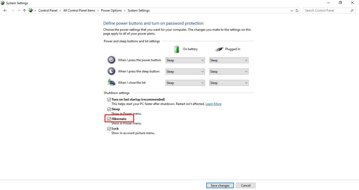فعال کردن Hibernate در ویندوز 10 - Power option - system setting - hibernate