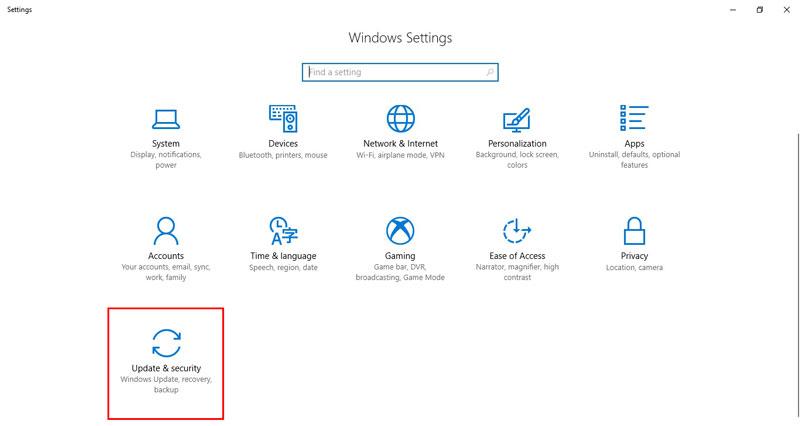 آموزش نصب درایور در ویندوز 10 - Update and Security