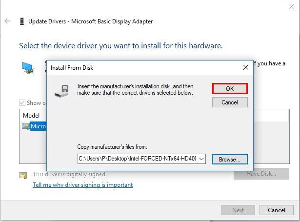 آموزش نصب درایور در ویندوز 10 - Have Disk - Browse - OK