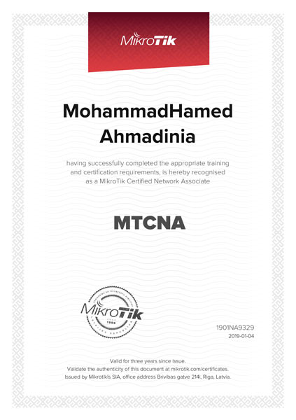 مدرک MTCNA میکروتیک مهندس محمدحامد احمدی نیا