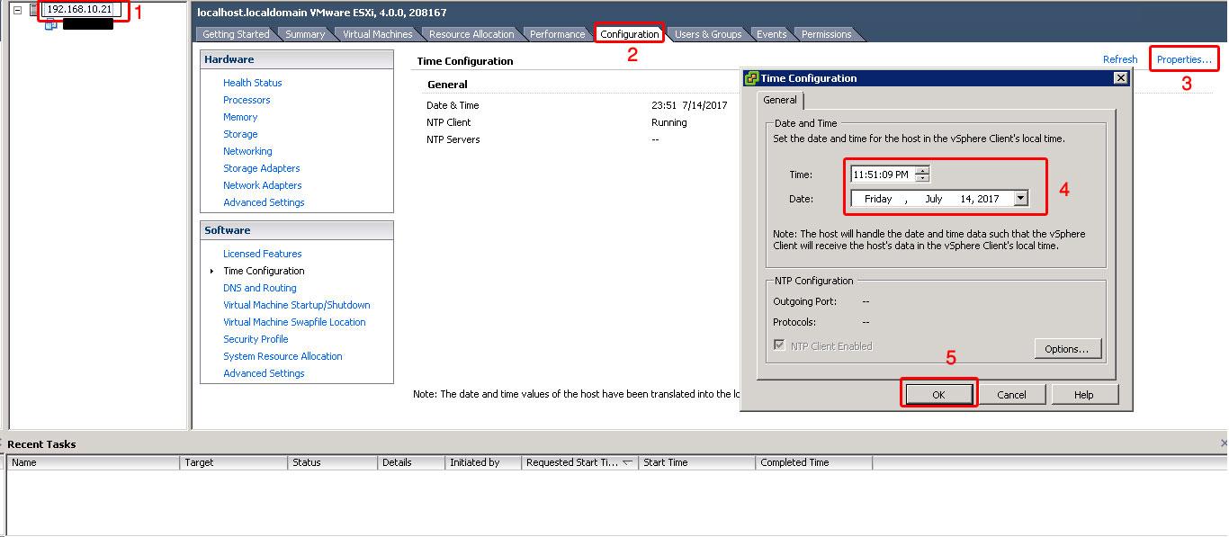تنظیم ساعت و تاریخ روی سرور VMware ESXi