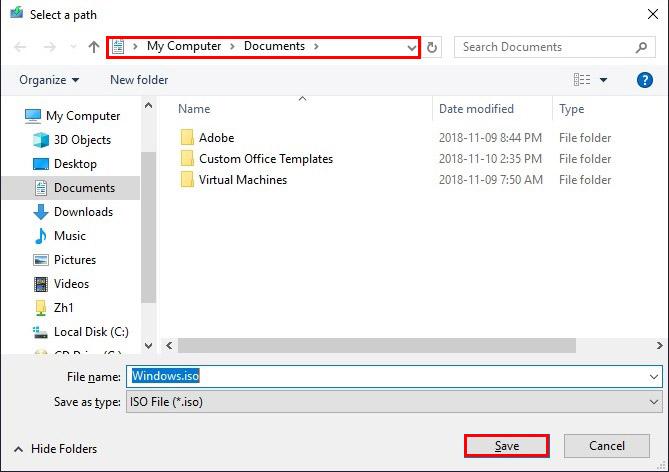 چگونه ویندوز 10 را آپدیت کنیم؟ - محل ذخیره سازی فایل iso