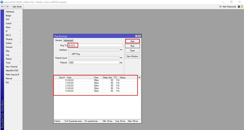 بروزرسانی روتر میکروتیک - آپدیت RouterOS میکروتیک - قسمت اول - ping