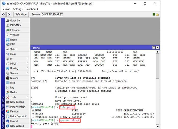 بروزرسانی روتر میکروتیک - آپدیت RouterOS میکروتیک - file print