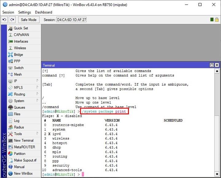 بروزرسانی روتر میکروتیک - آپدیت RouterOS میکروتیک - system package print