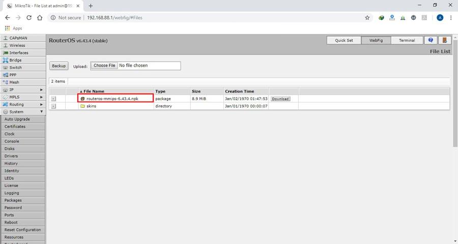 بروزرسانی روتر میکروتیک - آپدیت RouterOS میکروتیک - Webfig