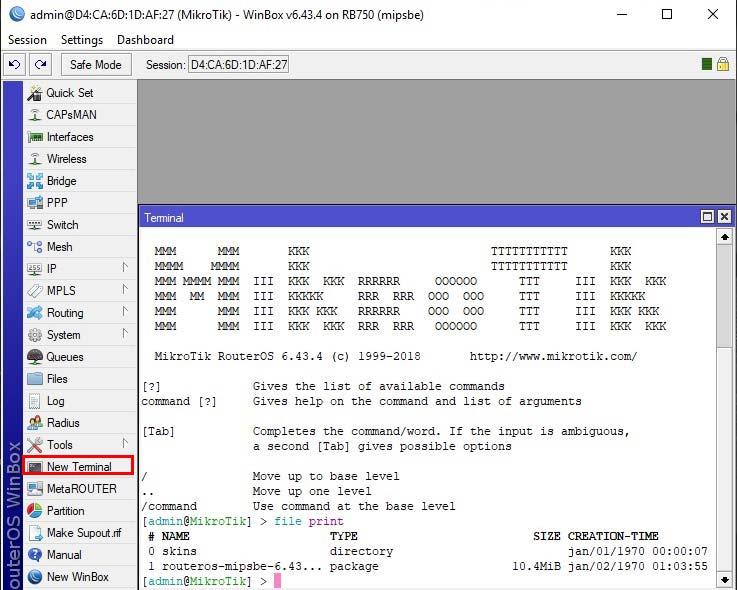 بروزرسانی روتر میکروتیک - آپدیت RouterOS میکروتیک - New Terminal