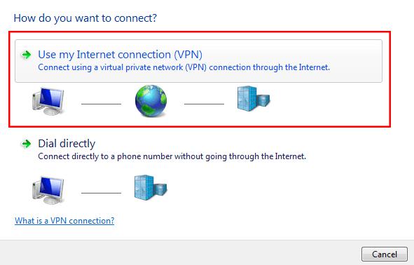 انتخاب نوع connection