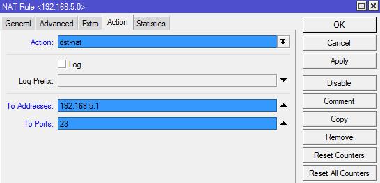 انتخاب اکشن مورد نظر و تنظیم IP آدرس و پورت مقصد