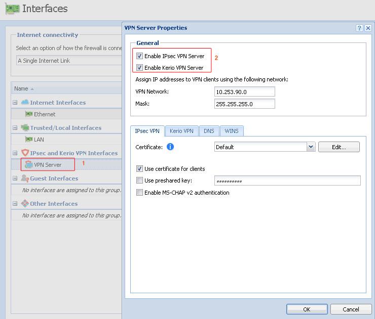 فعال کردن سرویس های IPsec و Kerio VPN - خدمات شبکه