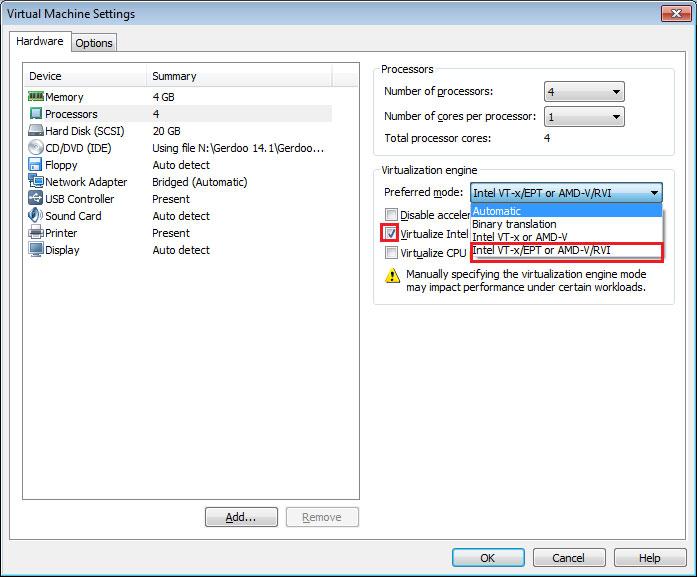 فعال کردن قابلیت مجازی سازی برای پردازنده در vmware workstation - آموزش شبکه