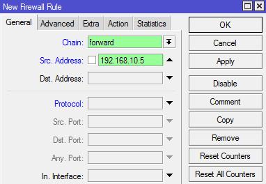 انتخاب ip مورد نظر برای حذف محدودیت