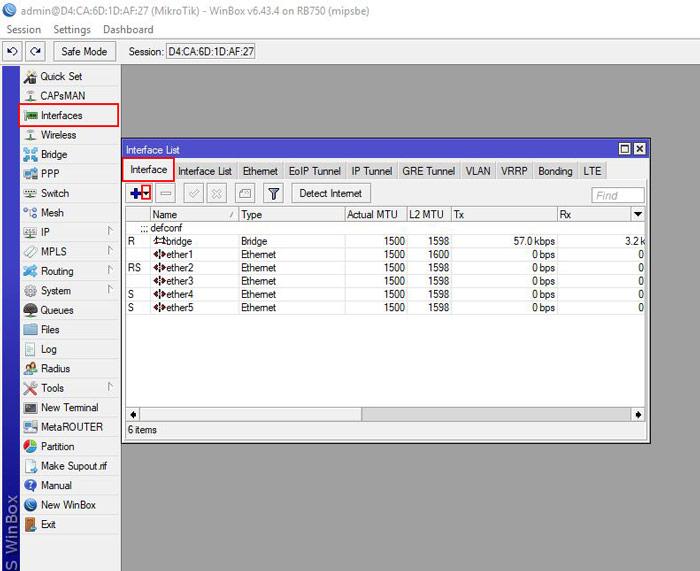 به اشتراک گذاری اینترنت با میکروتیک - اتصال به اینترنت با میکروتیک - Interface List