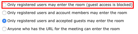 مدیریت دسترسی جلسه در Adobe Connect - ادوبی کانکت - Only registered users may enter the room (guest access is blocked)