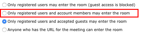 مدیریت دسترسی جلسه در Adobe Connect - ادوبی کانکت - Only registered users and account members may enter the room