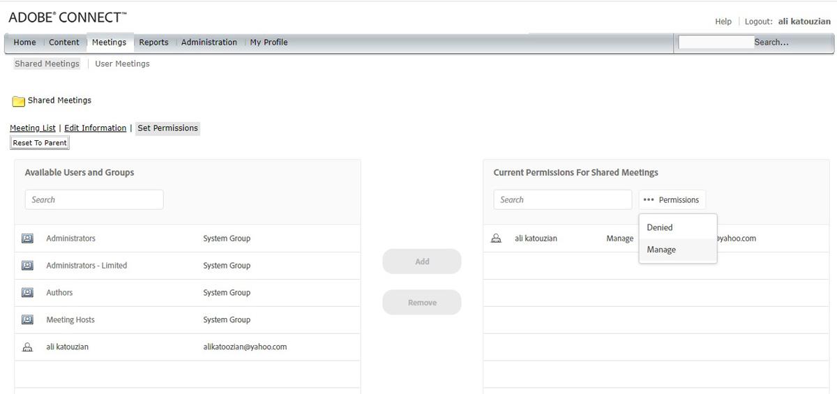مدیریت دسترسی جلسه در Adobe Connect - ادوبی کانکت - meetings - set permissions