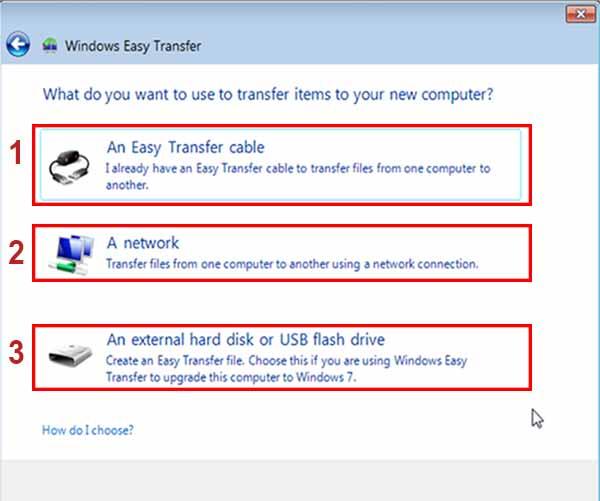انواع روش های انتقال فایل با استفاده از Easy Transfer