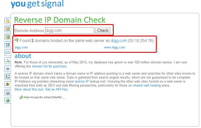 پیدا کردن سایر دامین هایی که با دامین شما IP مشترک دارند