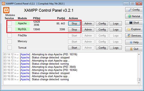 راه اندازی Xampp برای نصب VTiger