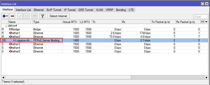 راه اندازی pppoe server در میکروتیک - interface list