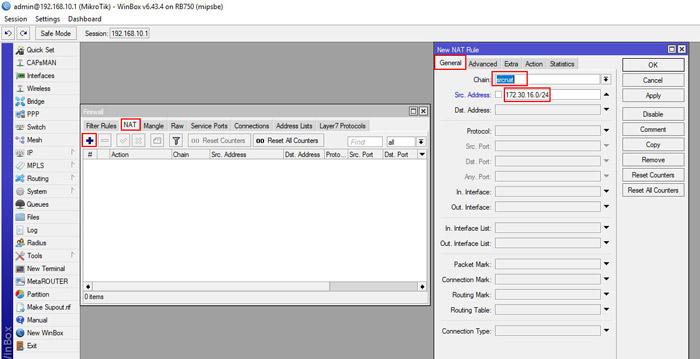 راه اندازی pppoe server در میکروتیک - firewall - new nat rule