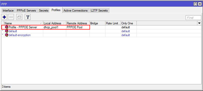 راه اندازی pppoe server در میکروتیک - جدول ppp profile