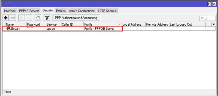 راه اندازی pppoe server در میکروتیک - جدول ppp secrets