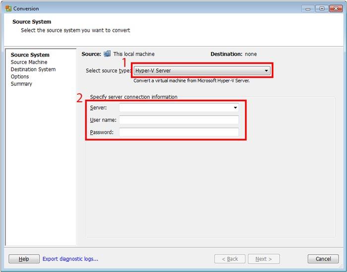 انتقال سرور از Hyper-V به vmware